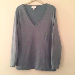 LOFT sea green sweater silk blend XL